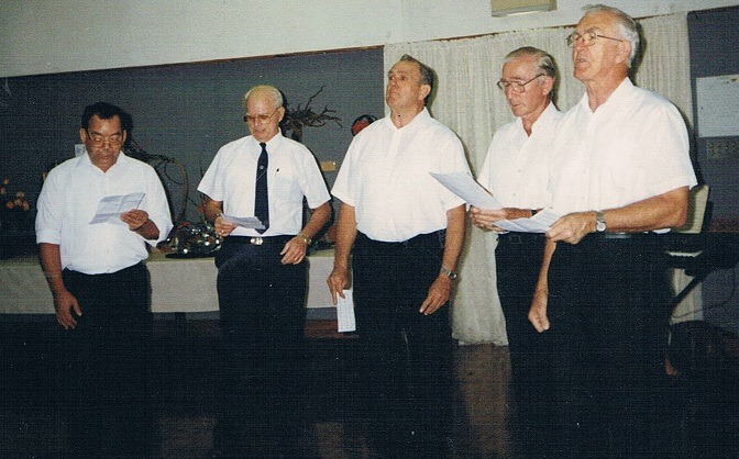 Five men from our church including the Minster singing Church in the Wildwood - September 1996
